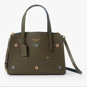 Coach Charlie 28 Leather Rivets Carryall Tote Bag! Moss; Detachable Strap